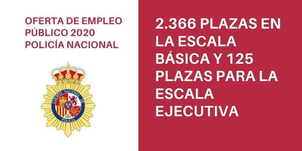 El BOE del 1 de agosto publica la oferta de empleo público de la Policía Nacional para el año 2020.