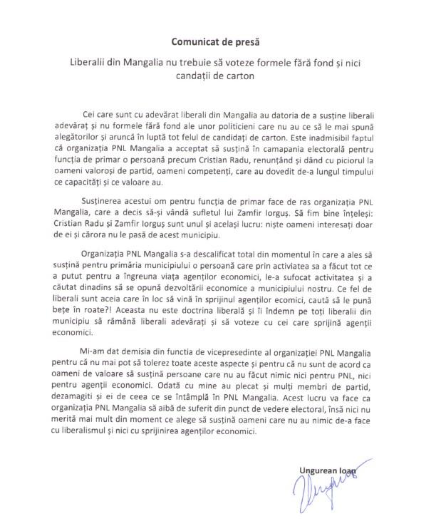 Comunicat din partea unui vicepresedinte al PNl Mangalia
