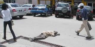 Senior Citizen Fallen on the Road