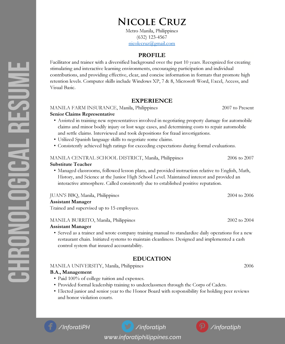 chronological-resume-types-by-format