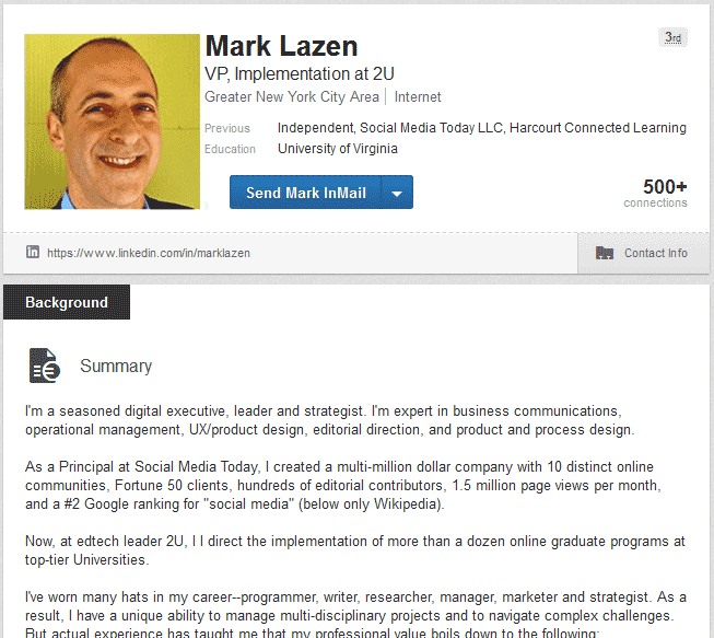 linkedin profile of mark lazen