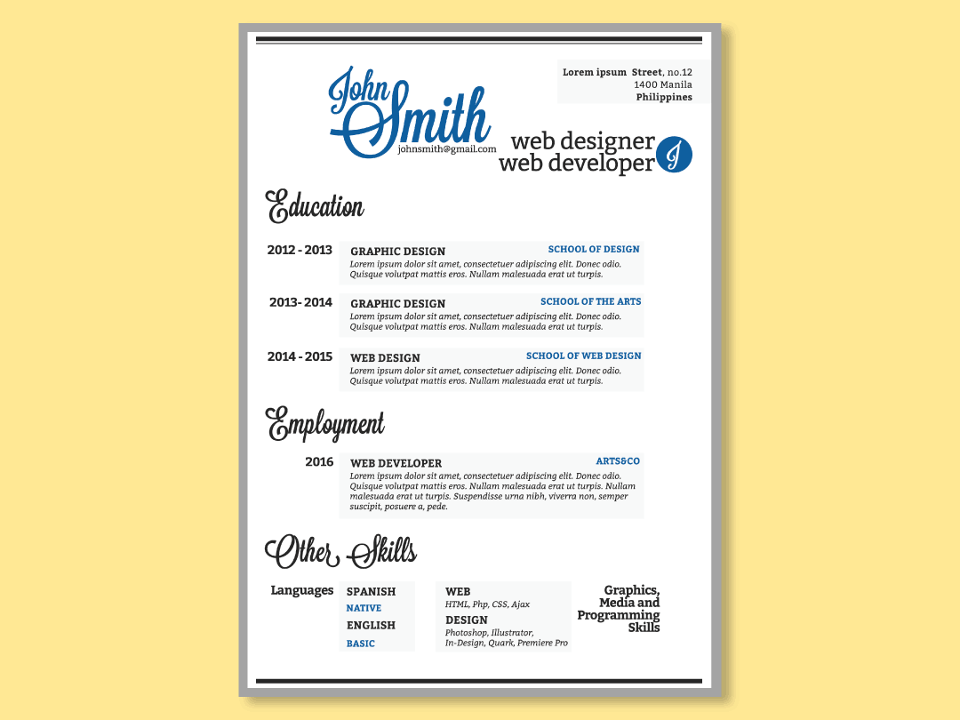 Basic Web Designer Resume