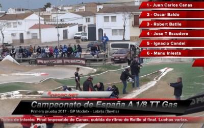 Video - Final comentada del Nacional A 1/8 TT Gas 2017 en Lebrija. Robert Batlle y Miguel Zambrana.