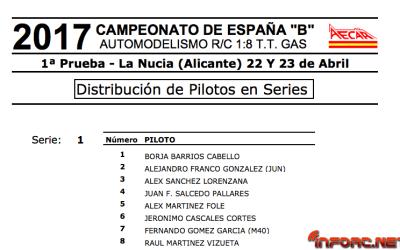 Campeonato de España B 1/8 TT Gas La Nucía - Distribución de pilotos y horarios de entrenamientos