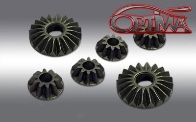 Piñonería de acero para diferencial de Kyosho MP9, por Optima