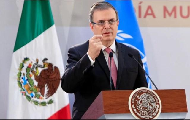 Marcelo Ebrard habla durante su intervención en la presentación del Informe de la Comisión de Alto Nivel