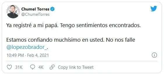 1.jpg 1887489152 - Estamos confiando muchísimo en usted: Chumel Torres a AMLO #AMLO