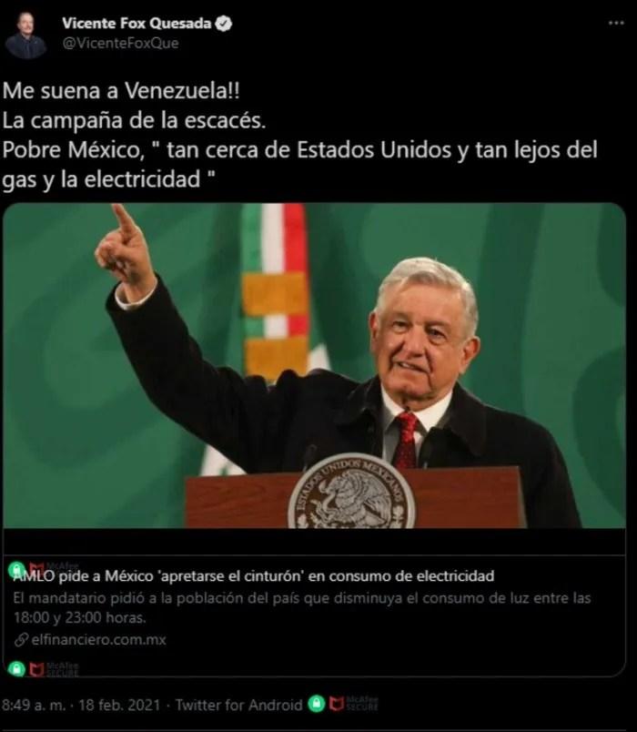 fox.jpg 1265995664 - Me suena a Venezuela: Fox critica a AMLO por electricidad #AMLO