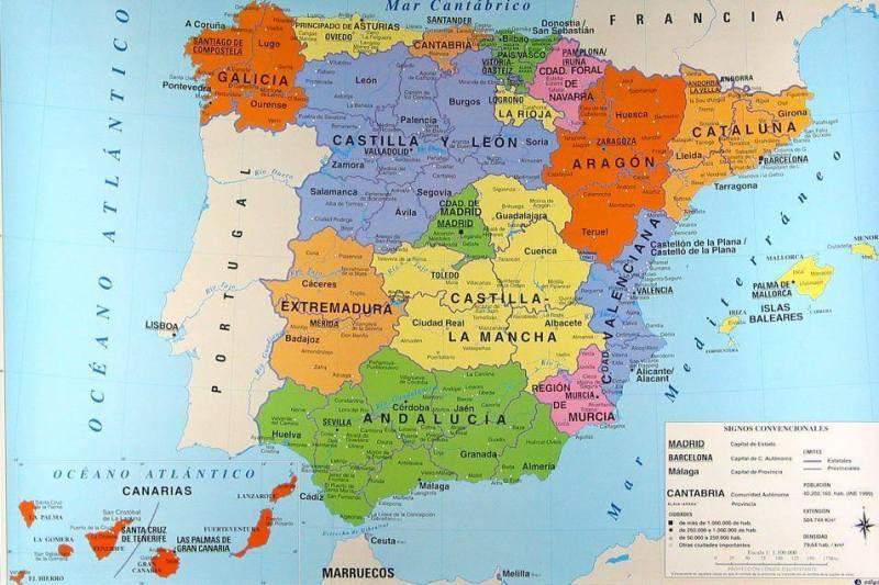 Mappa Delle Regioni Spagnole Cartina Delle Regioni Della Spagna