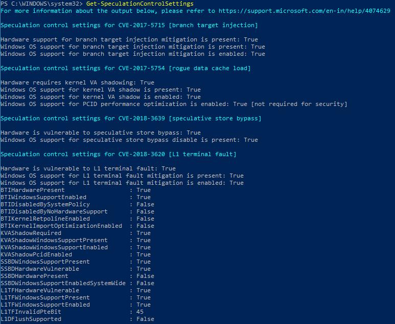 Instalación de Retpoline en Windows 10. Get-SpeculationControlSettings
