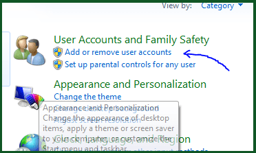 computer control panel add or remove user accounts
