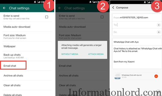 Send Whatsapp chat via email as backup