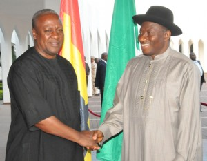 President John Mahama Of Ghana (L) & President Jonathan (R) At The Aso Presidential Villa Today