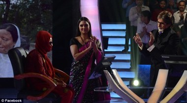 FILMING: ACID ATTACK VICTIM SONALI MUKHERJEE PICTURED ON WHO WANTS TO BE A MILLIONAIRE? WITH FORMER MISS UNIVERSE LARA DUTTA AND HOST AMITABH BACHCHAN