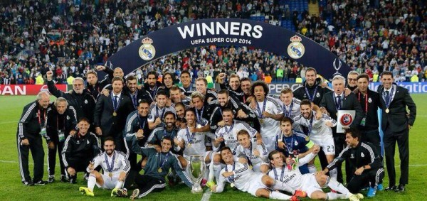 Real Madrid Players and Coaches Clebrate Winning the 2014/15 Uefa Super Cup in Cardiff.