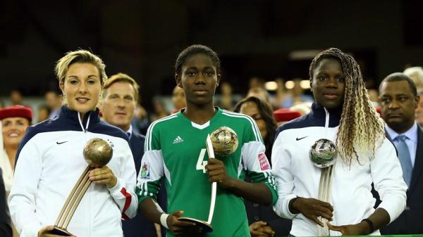 Asisat Oshoala Flanked By France's Pair of  Griedge Mbock Bathy and Claire Lavogez During the Fifa U-20 World Cup Award Presentation Ceremony. Image Getty.