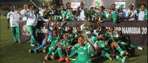 Super Falcons Celebrates After Winning a record-Extending 7th AWC Trophy.