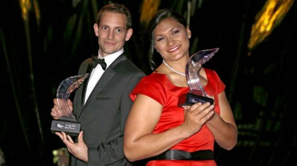 Valerie Adams and Renaud Lavillenie Pose With Their Awards. Image: AP.