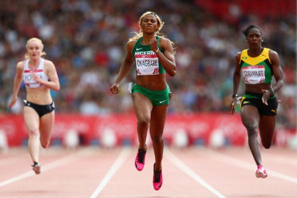 Okagbare Powers Past Kerron Stewart and Veronica Campbell-Brown in Scotland. Image: Getty.