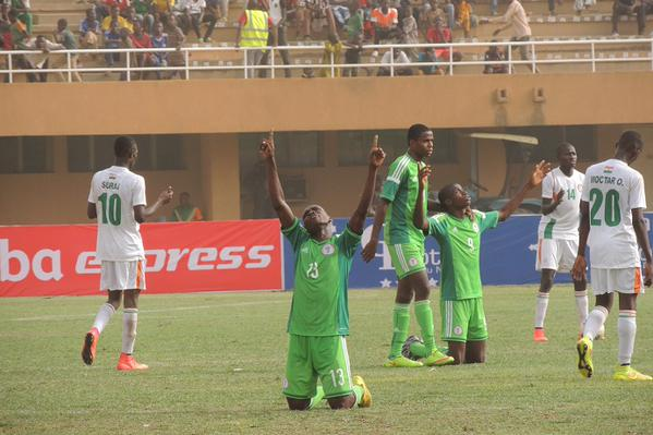 Golden Eaglets Players in Praise and Thanksgiving Mood after Their 2-0 Win against Hosts Niger in the Opening Game of the Africa U-17 Championship in Niamey. Image: Caf Via AFP.