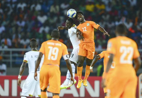 Wilfried Bony Leaped for an Aerial Ball During Afcon 2015 Final. Image: Getty.