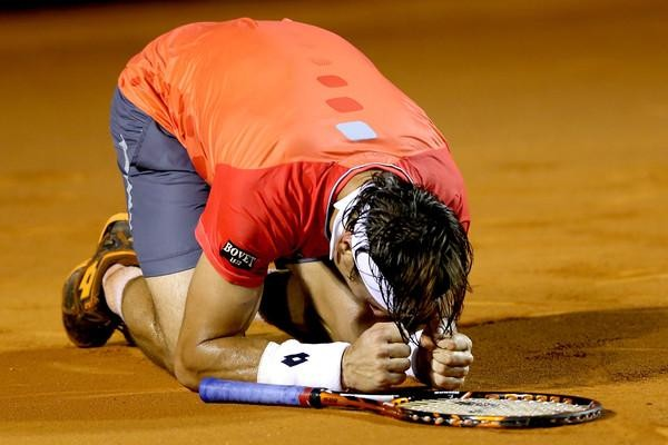 David Ferrer in Euphoria after Winning Rio Open. Image: Getty.