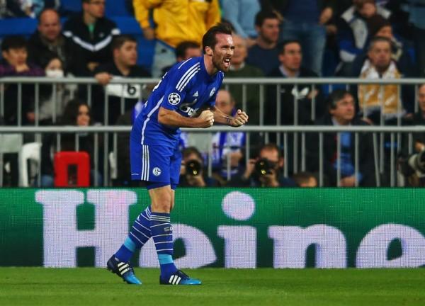 Christian Fuchs Celebrates after Opening Scoring for Schalke 04 at the Santiago Bernebeu. Image: AFP/Getty.