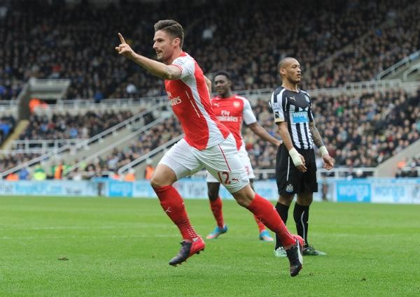 Olivier Giroud Wheels Away in Celebration after Scoring Arsenal's Second at St. James' Park. Image: Getty.