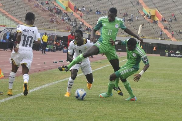 Usman Sale Vies for the Ball against Ghana in Dakar. Image: BackPagePix via Caf.