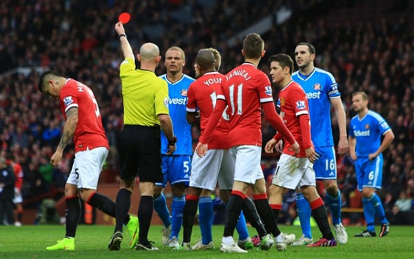 Wes Brown Wrongfully Shown Red Card at Old Trafford. Image: Pic Philip Oldham/Sportimage.