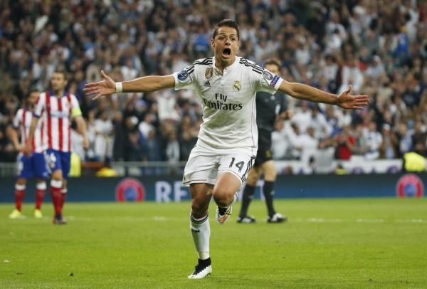 Javier Hernandez Celebrates his Match-Winning Goal against Atleti at the Santiago Bernebeu. Image: Getty.