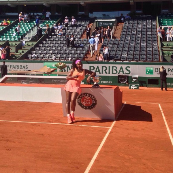 Serena Williams Poses With Her Third French Open Title. Image: RG via Getty.