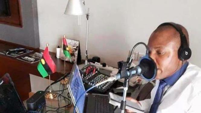 Image result for NNAMDI KANU IN RADIO STUDIO