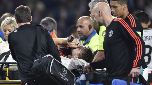 Luke Shaw Been Aided Off the Pitch on a Stretcher. Image: Getty.