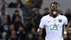 Paris Saint-Germain's Ivorian defender Serge Aurier sticks his tongue out after missing a goal during the French Cup semi-final football match between Lorient (FCL) and Paris Saint-Germain (PSG) at Moustoir stadium in Lorient, western France, on April 19, 2016. AFP PHOTO / DAMIEN MEYER / AFP / DAMIEN MEYER (Photo credit should read DAMIEN MEYER/AFP/Getty Images)