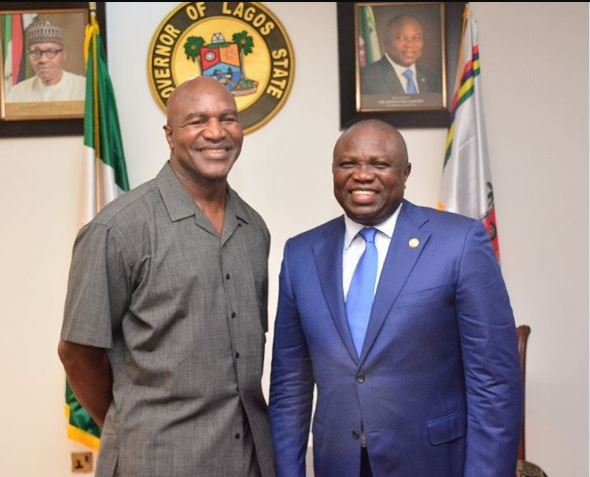 Ambode hosts four-time heavyweight champion Holyfield