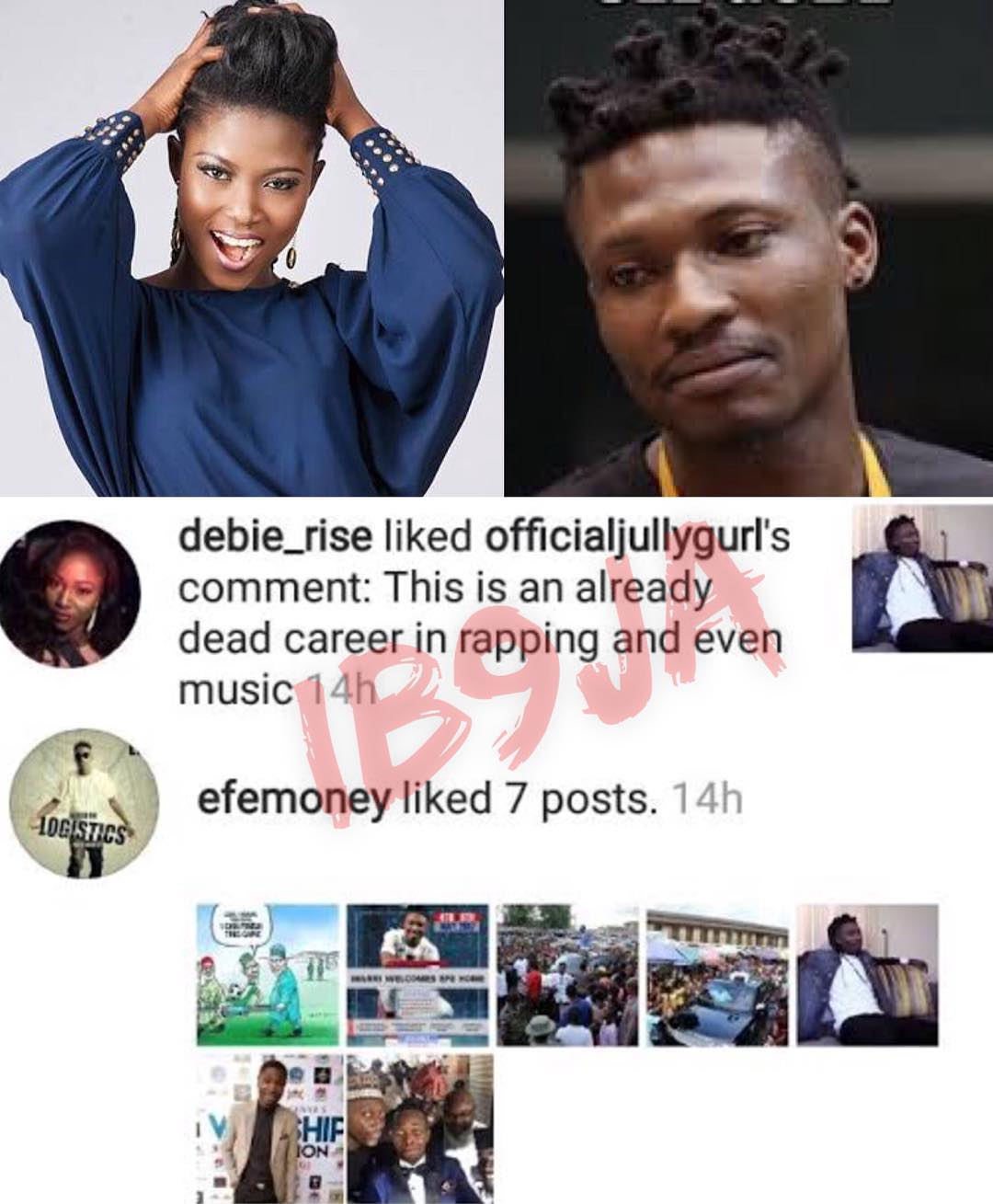 #BBNaija Debie-rise confirms that Efe's music career is already dead and buried (Photo)