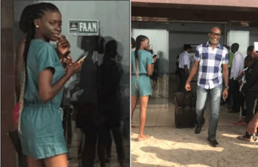 Social Media On Fire!! After This Girl Was Caught Staring At Richard Mofe-Damijo At The Airport, So So 'Bad' (Photos)