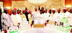 Image result for Osinbajo, governors join Buhari to cut birthday cakes