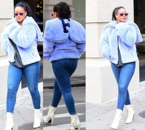 {filename}-Rihanna Flaunts Her Curves In Figure-hugging Jeans As She Steps Out In New York (photos)