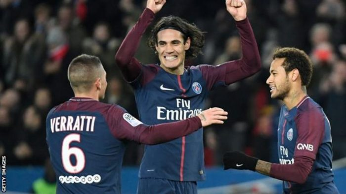 Edinson Cavani breaks PSG record as Neymar nets double on return