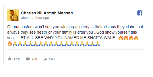 wp image 752748090 - Shatta Wale Singer Replies Prophet Who Predicted His Death