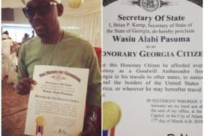 CONGRAT! Fuji Star, Pasuma Becomes An Honorary Citizen Of Atlanta Georgia, USA