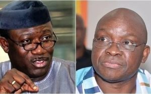 Collage photo of Fayemi and Fayose
