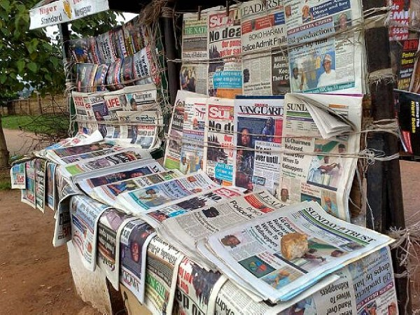 Newspaper stand 1 - Nigerian Newspaper Headlines Today: 15th February