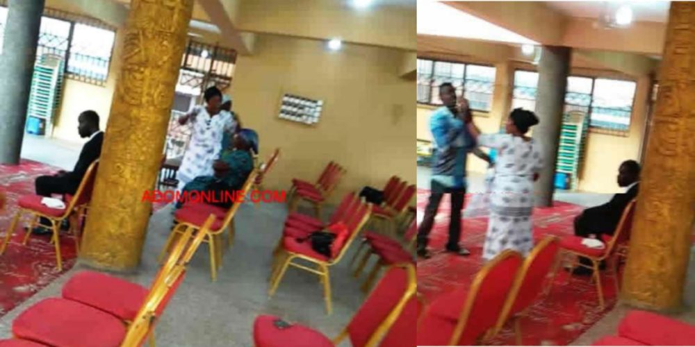"""late clerics wife storms church disrupts service over ownership - [Photo]: Lady """"Allegedly""""Beaten Mercilessly By Church Officials For Not Dressing Properly To Church"""