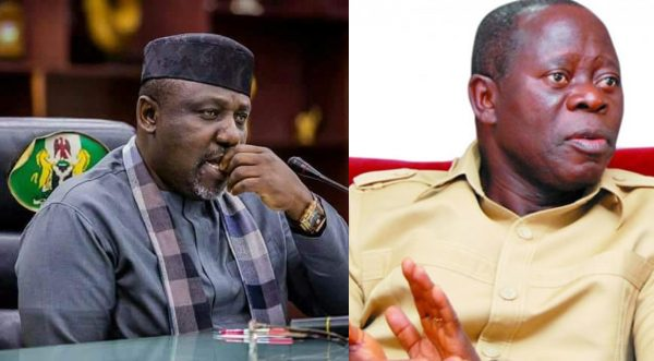 "oshiomole rochas 600x331 - ""Oshiomole Lacks Wisdom"" – Okorocha Fires At APC National Chairman"