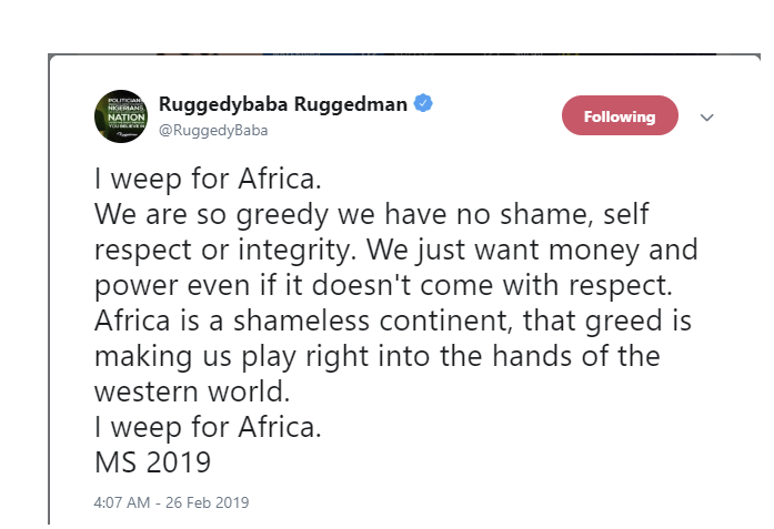 Screen Shot 2019 02 26 at 3.34.13 PM - We have no self-respect and intergrity in Nigeria – Rugged Man