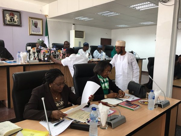 inec 1 - #ImoResults: PDP Agent Tears Result Sheet, Accuses Okorocha of Writing Them