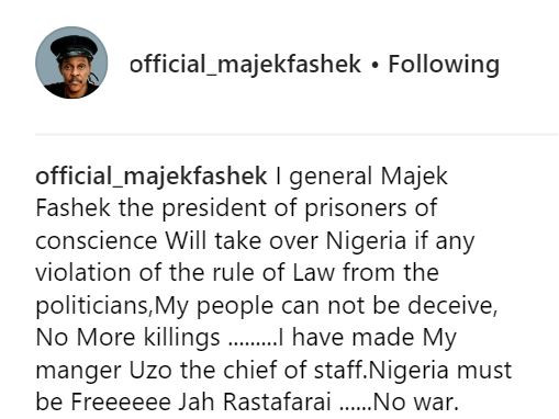 1 13 - I will take over Nigeria if politicians violate the law – Majek Fashek